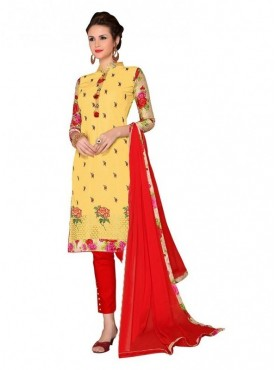 Aasvaa Fashion Heavy Multi Embrodiery With Fancy Border Yellow Color Salwar Suit
