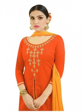 Aasvaa Fashion Heavy Multy Embrodiery Work Orange Color Salwar Suit