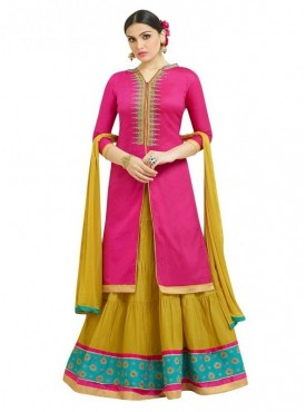 Aasvaa Fashion Heavy Multy Embrodiery Work Pink Color Salwar Suit