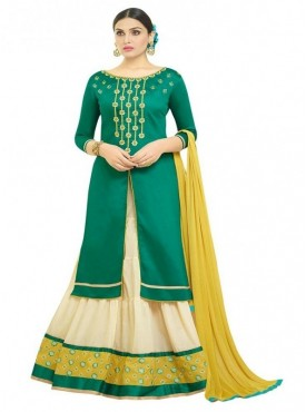 Aasvaa Fashion Heavy Multy Embrodiery Work Sea Green Color Salwar Suit