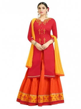 Aasvaa Fashion Heavy Multy Embrodiery Work Red Color Salwar Suit