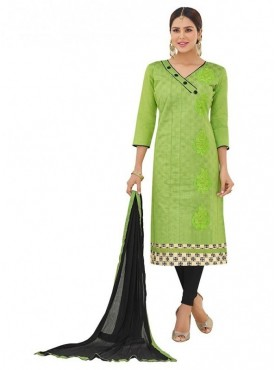 Aasvaa Fashion Heavy Multi Embrodiery And Fancy Border With Printed Inner Green Color Salwar Suit