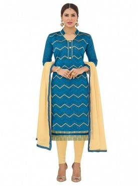Aasvaa Fashion Heavy Multi Embrodiery And Fancy Border With Printed Inner Blue Color Salwar Suit