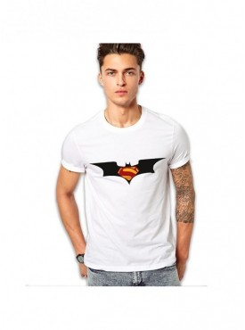 Edgemeter White Round Neck Superman Batman Printed T-Shirt