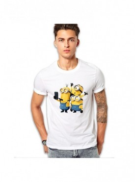 Edgemeter Black Round Neck Minions Printed T-Shirt