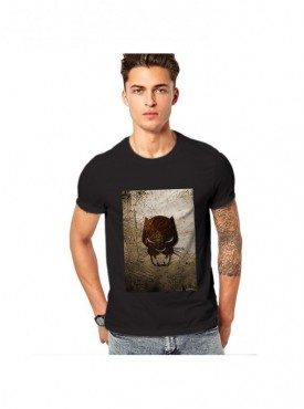 Edgemeter Black Round Neck Printed T-Shirt
