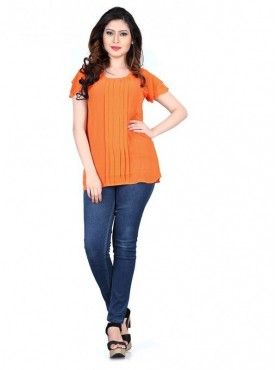 Cutemad Orange Exclusive Printed Top