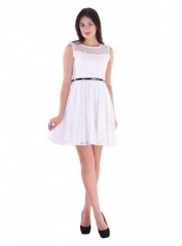 Cutemad White white embroidered skater dress