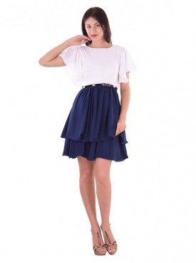 Cutemad White - Blue white - blue skater dress