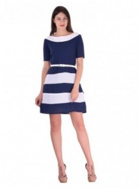 Cutemad Navy Blue navy blue colored shift dress