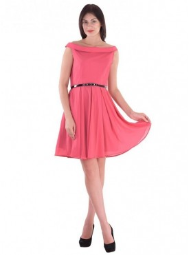 Cutemad Pink pink colored cold shoulder skater dress