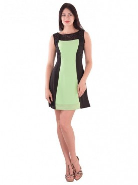 Cutemad Green -  Black Green colored embroidered shift dress