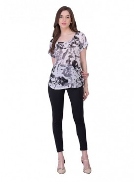 Cutemad Grey - Black Printed Top