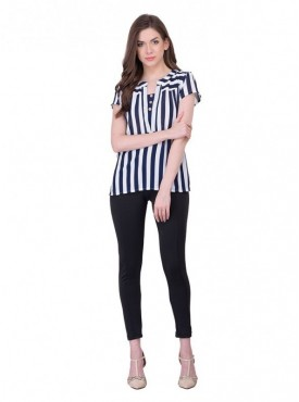 Cutemad Black - White Stips Top