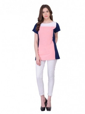 Cutemad Pink-Navy Blue Plain Top