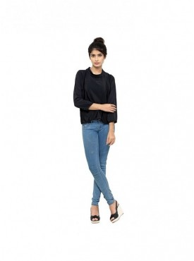 Cutemad Women Top Blue textured crepe blouse