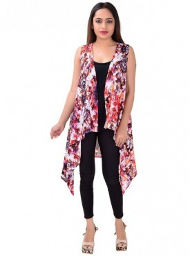 Cutemad Women Shrug (multicoloured asymmetric sleeveless shrug)