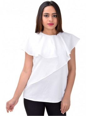 Cutemad Women Top Premium crepe White blouse with asymmetric frills