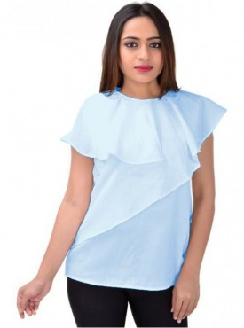 Cutemad Women Top (Premium crepe blue blouse with asymmetric frills)