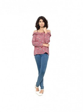 Cutemad Women Top Pink printed cold shoulder Top