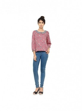 Cutemad Women TopPink Printed Blouse with collar