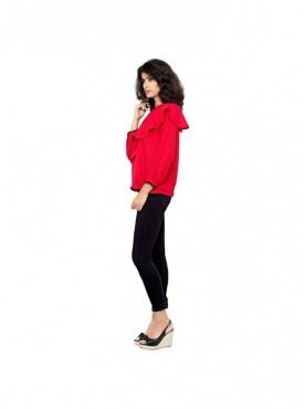 Cutemad Women Top (Red blouse with assymetric frills)