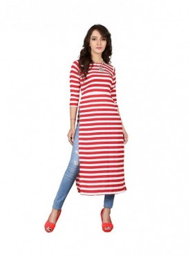 Cutemad Red-White Georgette Striped Long Top