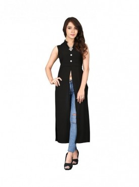 Cutemad Black Georgette Solid Long Top