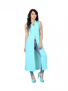 Cutemad Sky Blue Georgette  Solid Long Top