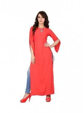 Cutemad Red Georgette  Solid Long Top