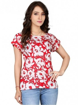 Cutemad Red Crepe Dark Floral Scuba Shell