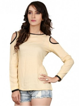 Cutemad Beige Rayon Solid Top
