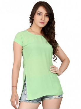 Cutemad Green Georgette Solid Top
