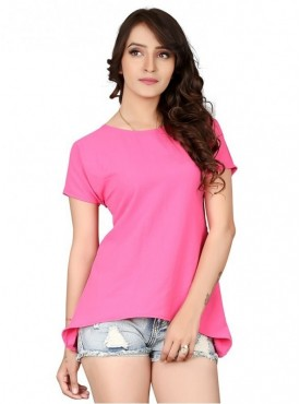 Cutemad Pink Bubble Georgette Solid Top