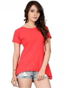 Cutemad Red Bubble Georgette Solid Top
