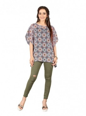 Cutemad Multi color Georgette Kaftan Printed Top