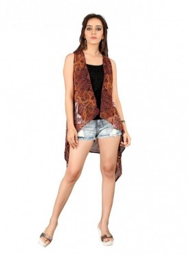 Cutemad Brown Georgette Printed Shrug