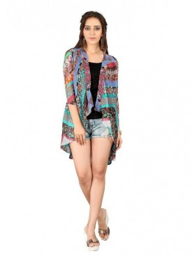 Cutemad Multi color Georgette Printed Shrug