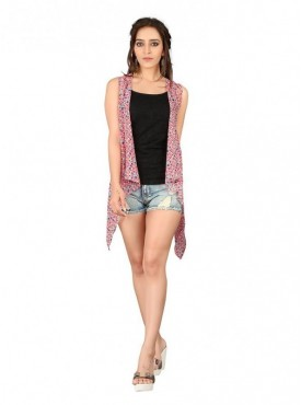 Cutemad Pink Georgette Printed Shrug