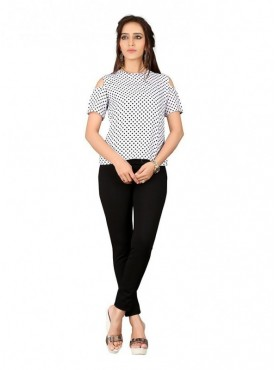 Cutemad  White - Black Georgette Cold Shoulder Top