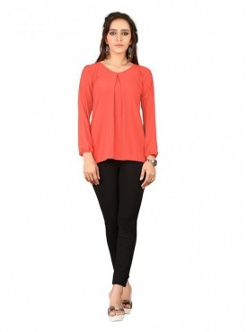 Cutemad  Orange Georgette Plain Top
