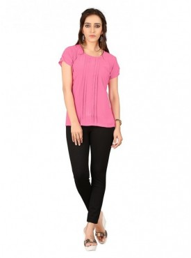 Cutemad Pink Georgette Plain Top
