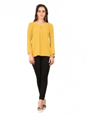 Cutemad Yellow Georgette Plain Top