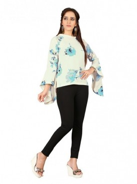 Cutemad  White-Blue Georgette Floral Printed Bell Sleeve