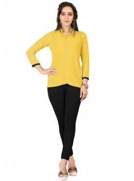 Cutemad Yellow Georgette Plain Shirts