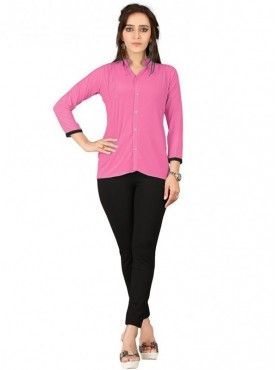 Cutemad Pink Georgette Plain Shirts