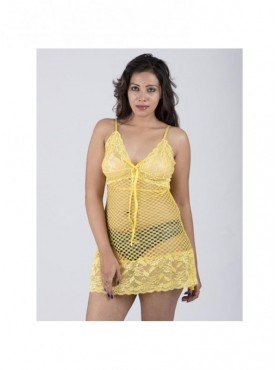 Shyle Yellow Floral Mesh Lace Babydoll