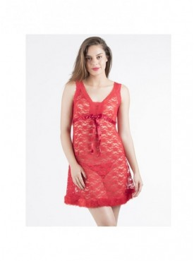 Shyle Red Floral Lace Babydoll
