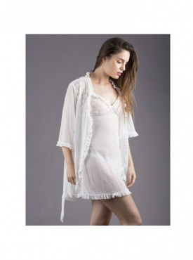 Shyle White Frill Strapped Babydoll with Robe