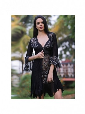 Shyle Black Floral Embossed Babydoll With Robe